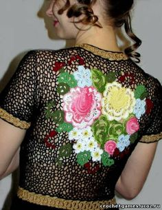 Russian Folk, Bolero Jacket, Irish Lace, Irish Crochet, Diy Projects To Try, Crochet Hooks, Knitting, Jackets, Tops