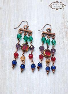 Byzantine Earrings , Chandelier Earrings , Artistic Earrings, Unique Earrings, Colourful Earrings by VintageRoseGallery Wing Earrings, Unique Earrings, Women's Earrings, Byzantine Jewelry, Etsy Vintage, Vintage Shops, Summer Accessories, Chandelier Earrings, Crystal Beads