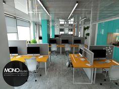 Nowoczesna przestrzeń biurowa , w której najbardziej widoczne są akcenty kolorowe o czystych barwach. Zapraszamy również do sprawdzenia naszej strony internetowej www.monostudio.pl