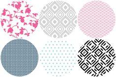 Chic Shelf Paper:  Pink Fruit/ Ikat/ Scallops Greek Key/ Aqua Dot/ Black & White Tile