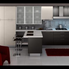 Modern Kitchen Design Gallery With Red Elegant Chair Furniture And White Simple…