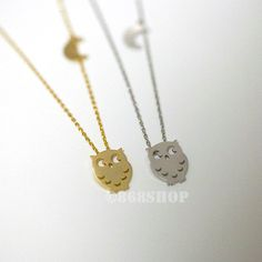 Owl necklace with tiny moon charm  in gold or silver by 868shop