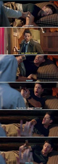 Supernatural - Tombstone Castiel: he's an angry sleeper. Like a bear Supernatural Destiel, Castiel, Supernatural Funny Moments, Jared Padalecki, Misha Collins, Jensen Ackles, Fandoms, Fangirl, Funny Memes