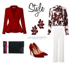 """""""54"""" by meldiana ❤ liked on Polyvore featuring MSGM, Tomasini, Hybrid & Company, Rupert Sanderson, Roland Mouret and H&M"""