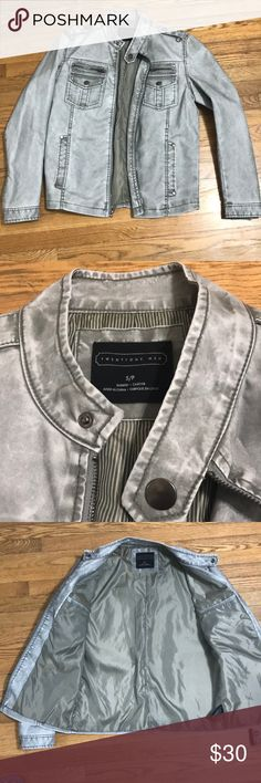 H&M Mens Faux Leather Jacket Silver Size Small H&M Mens Faux Leather Jacket Silver Size Small H&M Jackets & Coats Bomber & Varsity