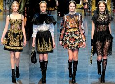 how to work the black caplet: with a white lace russian blouse (2nd from the left)