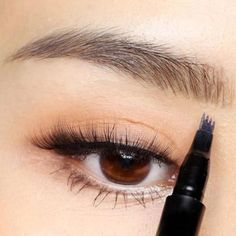 """Personality Isn't The First Thing People Notice, Eyebrows Are!The """"Waterproof Microblading Eyebrow Pen"""" is a new-concept, four-tip pen that colors each eyebrow with a long-wearing, natural look that lasts all day, without smudging! Eyebrow Stain, Eyebrow Pencil, Eyebrow Makeup, Eyebrow Brush, Eyebrow Tips, Makeup Eyebrows, Eyebrow Tweezers, Eye Brows, Sparse Eyebrows"""
