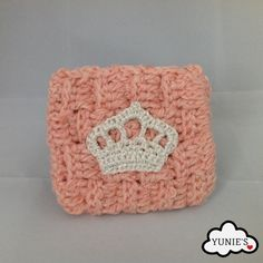 Crochet Pouch crochet purse with Crown Applique by Yunies on Etsy