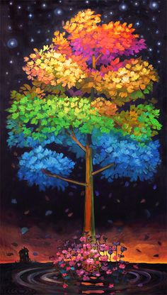 This breathtaking tree illustrates the entire year. The warm season is at the peak of the tree. Crawling down tree leaves change to cool winter as leaves drop off. Tree of Life - Terrance Osborne Tree Art, Tree Of Life, Painting Inspiration, Painting & Drawing, Amazing Art, Cool Art, Art Projects, Art Photography, Illustration Art
