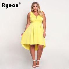 Ryeon Dresses Big Sizes 2017 Summer Party Sexy Club Tunic Bodycon Women  Dress Plus Size Vintage Black Yellow Pink Dress Vestidos 7d4b60d08246