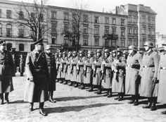 Inspection of Reserve Police Battalion 101 of the Nazi German Ordnungspolizei (Order Police) at Łódź (Litzmannstadt) in occupied Poland; late November of 1940 or spring 1941.