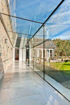 All glass is bonded together without need for intrusive glass fins or beams. Glass Walkway, Glass Porch, House Extension Design, Glass Extension, Pavilion Architecture, Garden Architecture, Sustainable Architecture, Residential Architecture, Contemporary Architecture