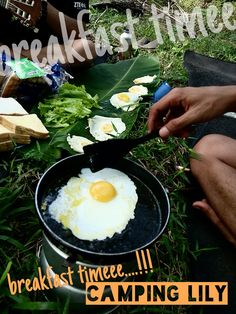 Camping Lily, July 2014 COoking for breakfast