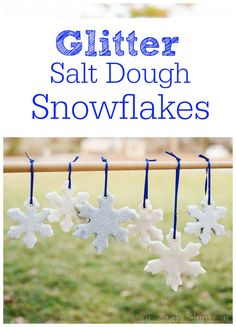 Glitter Salt Dough Snowflakes Glitter Salt Dough Snowflakes Tutorial: this fun craft is easy to make and low-mess with no food coloring to stain little fingers. Salt Dough Crafts, Salt Dough Ornaments, Salt Dough Projects, Cinnamon Ornaments, Homemade Ornaments, Diy Ornaments, Holiday Crafts, Christmas Crafts, Christmas Decorations