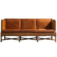 Kaare Klint Sofa Model 4118 in Mahogany and Original Cognac Leather | 1stdibs.com
