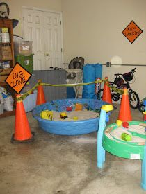 Put a bunch of sand in kiddie pools and have them dig for things (make them use plastic shovels to make it harder)