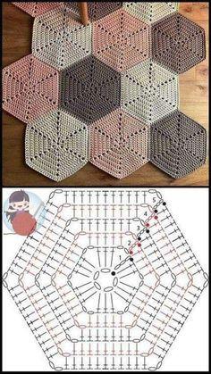 Hexagon Crochet Pattern, Crochet Placemat Patterns, Crochet Triangle, Crochet Diagram, Crochet Squares, Crochet Chart, Crochet Basics, Crochet Motif, Crochet Stitches