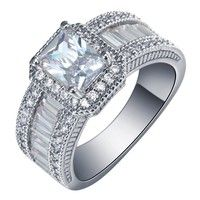Description Metal : 925 Sterling Silver Color : Silver Size : 6 7 8 9 10 Main Stone :White Topaz