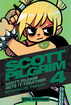 Scott Pilgrim vol 4 Evil Edition cover feat. Wells Cover, Scott Pilgrim Comic, Bryan Lee O Malley, Brian Lee, Chibi, Ramona Flowers, Vs The World, Samurai Swords, Poses