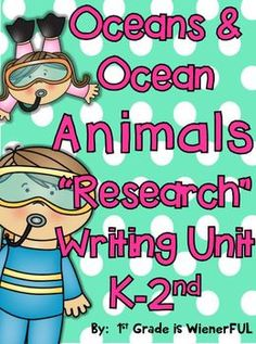"""FREEBIES in the Preview!  Ocean """"Research""""w/ Ocean Animals """"Research"""" Writing Unit!  This unit has been UPDATED!  SO Much more!  CUTE and COMMON CORE ALIGNED!  Great for middle of the year kinder-2nd Grade."""
