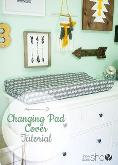 Easy to follow tutorial to create a changing pad cover for your baby's nursery! Easy and makes a great gift, too!
