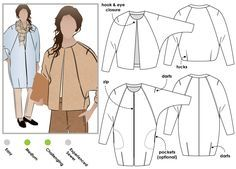 ONE PATTERN TWO LOOKS: Short jacket with pleat back and deep raglan sleeves + Knee length zip front cocoon shaped coat