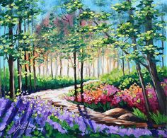 Scenic Forest Oil Painting Abstract Original Landscape by rbealart, $199.00