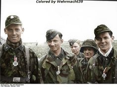 """Members of 12.ϟϟ-Pz.Division """"Hitlerjugend"""" Left to right: Sepp Bund (KIA 26.06.1944, Klaus Schuh (KIA 26.06.1944, and Günther Hamel. In the background Klaus Schuh´s ammo-carrier SS-Sturmmann Otto Funk. They were all born in 1926, both Bund and Schuh were killed in action on June 26 near Cheux. Funk is wounded the same day but will continue fight untill the bitter end (May 8 1945). Photo taken at Ardenne Abbey, near caen on June 12th, 1944."""