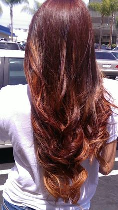 Red ombre hair by Evy Torrance California.