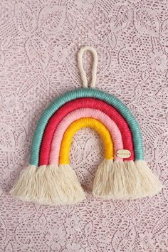 Cute Crafts, Yarn Crafts, Diy And Crafts, Arts And Crafts, Yarn Wall Art, Mobiles, Crochet Decoration, Rainbow Wall, Nursery Wall Decor