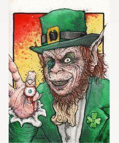 "codyschibi: ""Eye hope you all have an amazing St. Patrick's Day!!  The Leprechaun 5""x7"" watercolor/ink #ThatsNOThisEyeball #TheLeprechaun #StPatricksDay """
