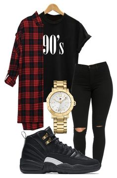 """black"" by rabiamiah on Polyvore featuring NIKE and Tommy Hilfiger"