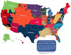 Facebook Map Of Most Popular NFL Teams By County