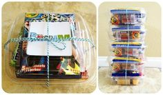 Package some snacks (with individual trash bags) and a little activity for them to do. Some ideas for the container can be a capri sun, fruit mentos, bag of chips, cheese  crackers, color wonder activity and a gallon sized Ziplock for their trash. Done and done!