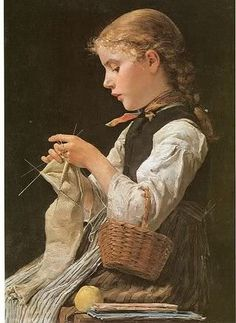 Series of paintings by Swiss Artist Albert Anker, (1831 - 1910). Nice