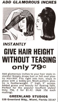 """Vintage """"Hair-Hill"""" Advertisement ~ I would buy and wear this right now."""
