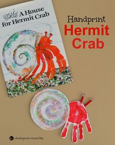 This handprint hermit crab craft for kids! A great follow up for the Eric Carle book, A House for Hermit Crab!