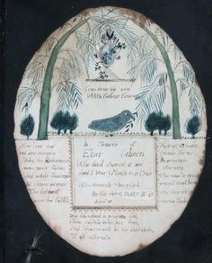 """In brown ink, under the urn, """"Come dress his urn/With fadeless flowers""""; below bird, """"In Memory of /Eber Gibson /who died August 31st 1800/ Aged 1 year 1 Month & 25 Days/ Affectionately inscribed./ By His sister, Dolly B G/Aged 11""""  