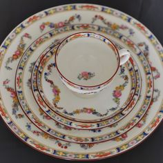 Antique Mintons Rose Pattern Number 4807 Hand Painted 8Porcelain Dinner Service 86 Pieces