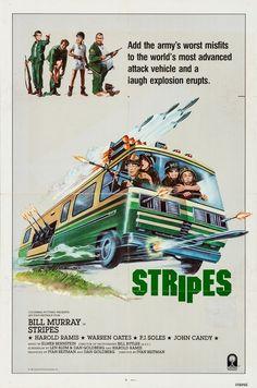 Stripes Bill Paxton Movies, Bill Murray Stripes, Elmer Bernstein, Warren Oates, Harold Ramis, Cool Posters, Movie Posters, Movie Marathon, Movies