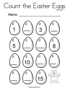 Count the Easter Eggs Coloring Page - Twisty Noodle Egg Names, Easter Worksheets, Preschool Worksheets, Word Puzzles For Kids, Educational Activities For Toddlers, Easter Egg Coloring Pages, School Forms, Math Pages, Early Math