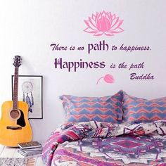 Wall Decals Quote There is no Path to Happiness Happiness is the path Buddha Lotus Flower Wisdom Yoga Zen Meditation Eastern Art Design Nursery Bedroom Living Vinyl Sticker Home Dcor Murals *** You can get additional details at the image link. Zen Living Rooms, Zen Bedrooms, Wall Decals, Vinyl Decals, Sticker, Buddha Lotus, Zen Meditation, Life Is A Journey, Study Office