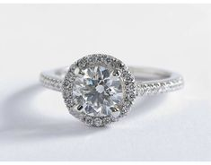 1 Carat Diamond Classic Halo Diamond Engagement Ring | Blue Nile Engagement Rings