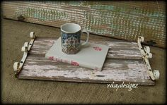 Rustic Reclaimed Wood Serving Bed Tray Chippy Pink by WKayDesignz, $32.80