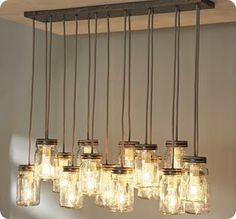 Make your own mason jar chandelier inspired by pottery barn's exeter 16-jar pendant.