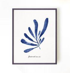 Aquarelle sur papier côtières algues print, bleu, décor de salle de bain, nautique d