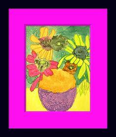 VanGogh sunflowers (flowers in oil pastel, background in watercolor/salt?