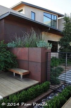 Repeating the design and elements in Allen's exterior -- Steel planter boxes echo the ones next to our parking area. make up the walls of this courtyard garden. Steel walls and soft grasses in travel-influenced Mirador Garden Modern Landscaping, Backyard Landscaping, Metal Projects, Metal Crafts, Outdoor Projects, Planter Boxes, Garden Beds, Garden Inspiration, Landscape Design