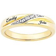 18kt Gold over Sterling Silver Ladies Diamond Accent Name Wedding Band