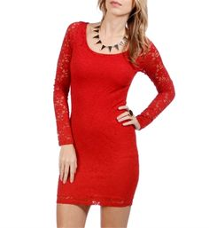 Red Long Sleeve Lace Dress! Even better GOAL DRESS for Christmas Party!!! Venture away from slimming black!!! #taralynn #windsorstore